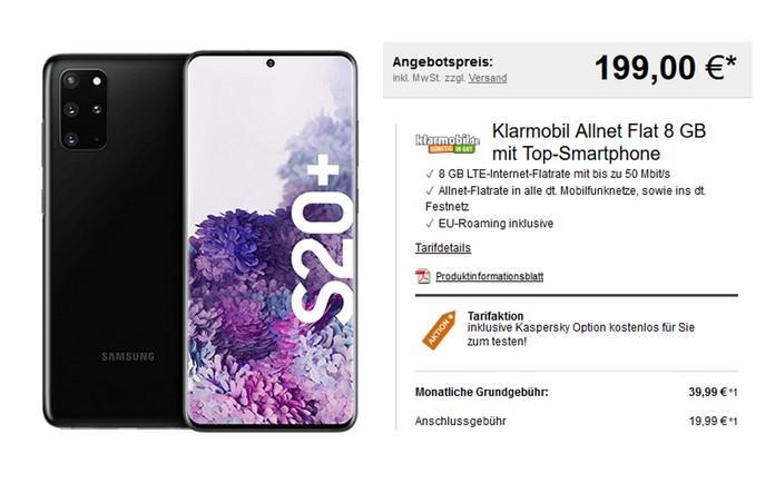 Klarmobil Allnet-Flat + Samsung Galaxy S20 Plus