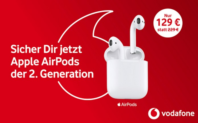 Vodafone Shop Aktion: AirPods 2 mit kabellosem (?) Ladecase für 129 €