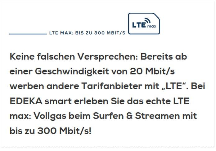 LTE Max Beschreibung bei EDEKA smart