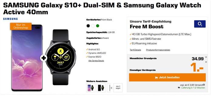 Samsung Galaxy S10 Plus + Smartwatch für 1 € zum o2 Free M Boost