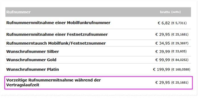 Laut Preisliste von mobilcom-debitel soll die vorzeitige Rufnummernmitnahme 29,95 € kosten