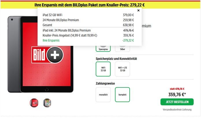 iPad 2019 + BILDplus Premium App für 14,99 € im Monat
