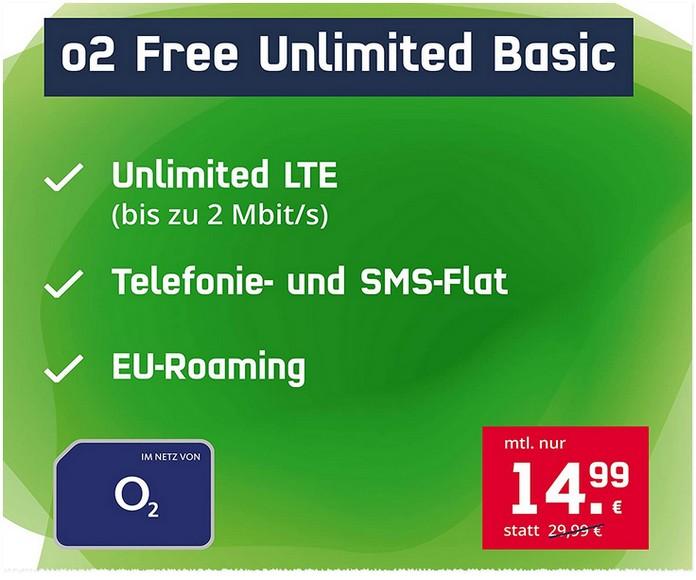 o2 Free Unlimited Basic (md) für 14,99 € im Monat als Angebot bei Amazon