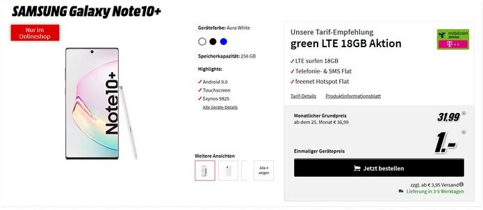 Samsung Galaxy Note 10 Plus zum Telekom green LTE 18 GB (md) für 31,99 €im Monat bei MediaMarkt in der Tarifwelt