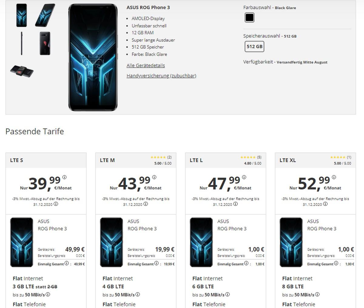 Drillisch: PremiumSIM Tarif mit ASUS ROG Phone extrem günstig!