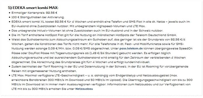 EDEKA smart kombi MAX: Die Prepaid Unlimited-Flat wird bereits in den Fußnoten angekündigt