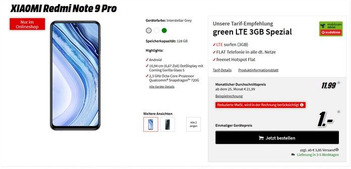 Xiaomi Redmi Note 9 Pro zum Vodafone green LTE 3 GB (md) für 11,99 € im Monat bei Mediamarkt