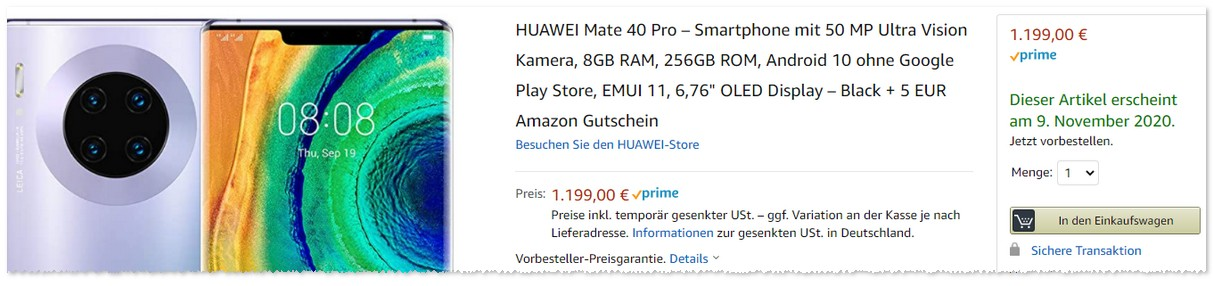 Amazon Leak: Mate 40 Pro