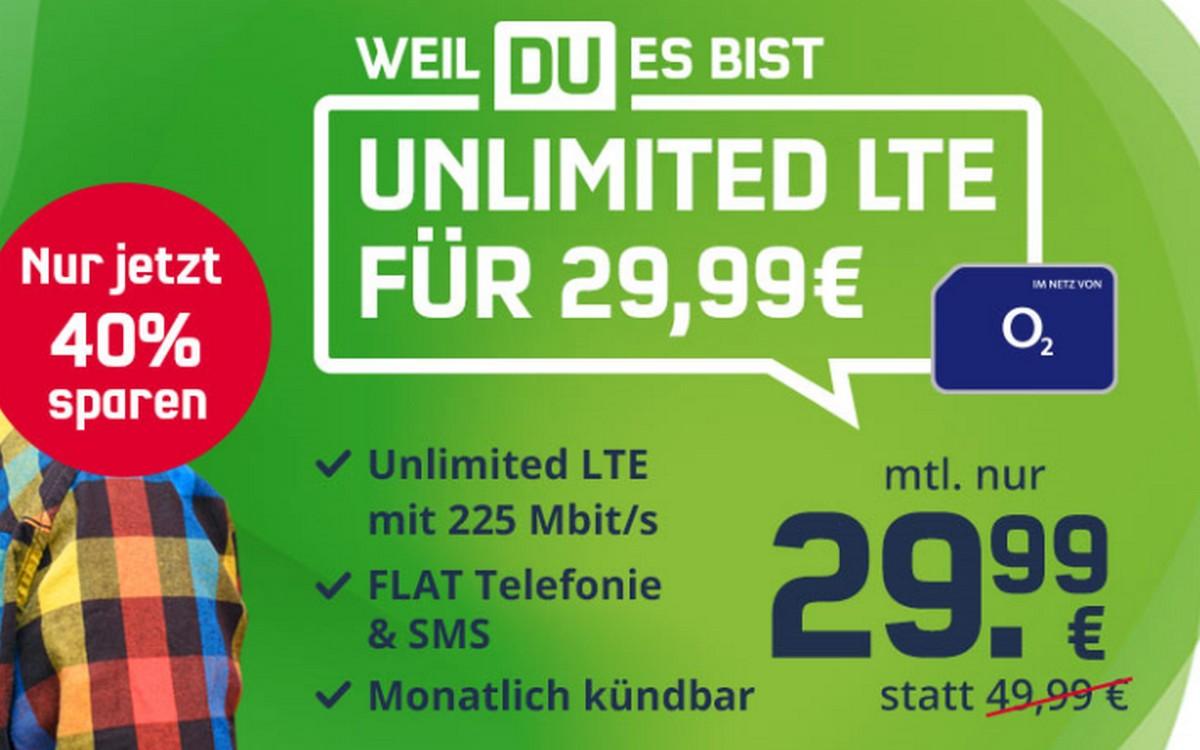 o2 Free Unlimited Max (md) für 29,99 € im Monat