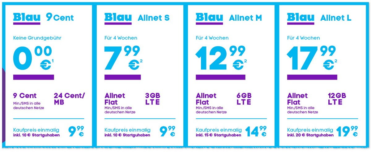 Blau Prepaid-Handytarife