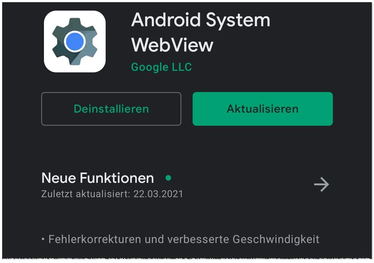 Android-Absturz WebView-Update