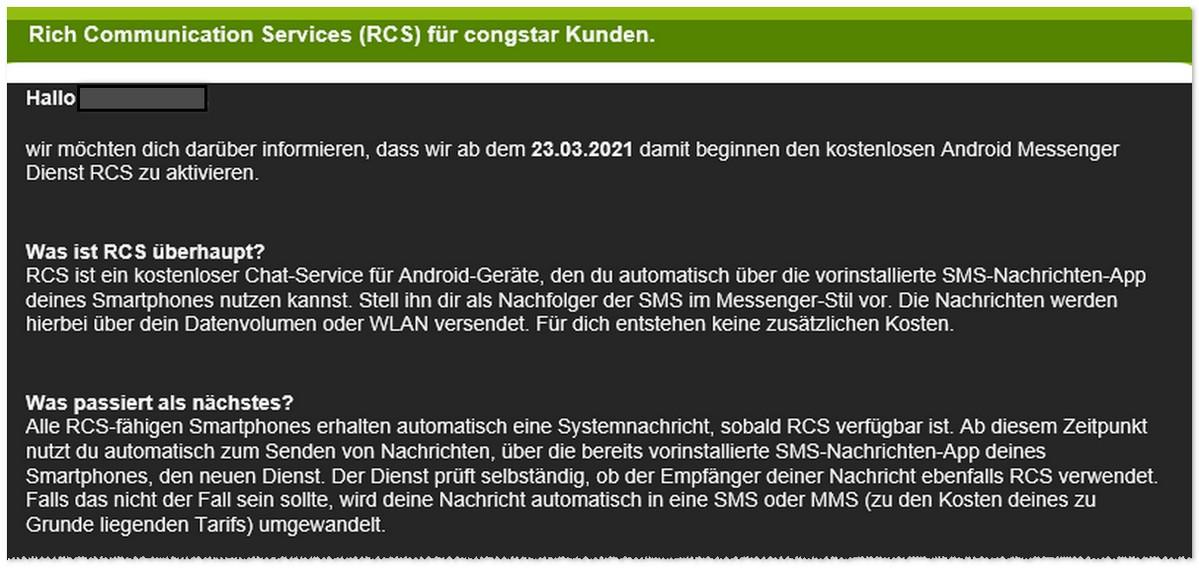 congstar: RCS Freischaltung