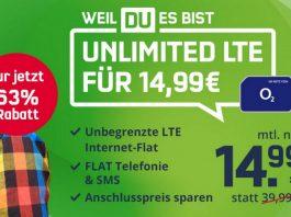 Der o2 Free Unlimited Smart (md) kostet normalerweise 14,99 € im Monat