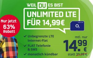 Der monatlich kündbare o2 Free Unlimited Smart (md) ist jetzt zum Mega-Preis erhältlich - das Angebot kann aber nur kurze Zeit gültig sein