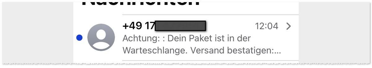 SMS-Spam: Paket in der Warteschlange