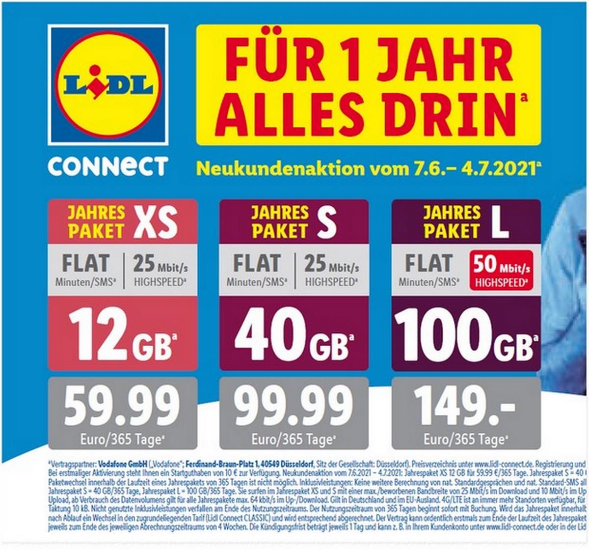 Die LIDL CONNECT Prepaid-Jahrespakete kosten zwischen 59,99 € und 149 €