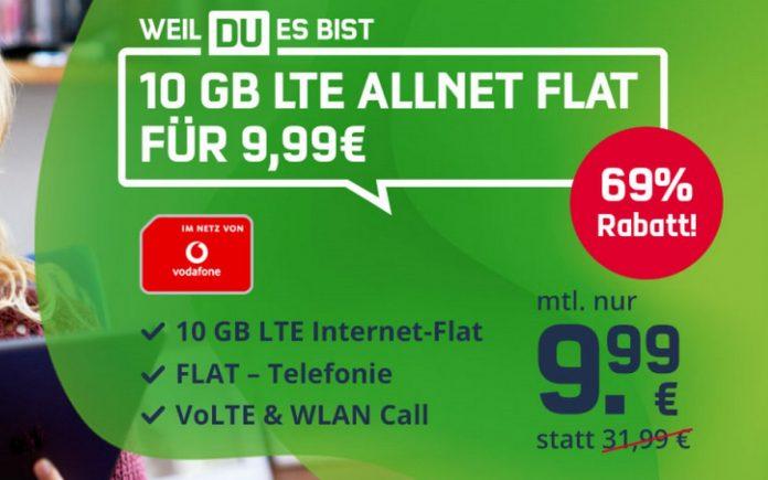 Vodafone green LTE 10 GB (md) für 9,99 €