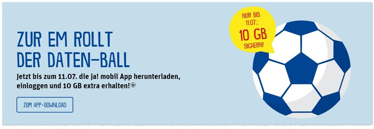 ja! mobil Datenball: 10 GB gratis