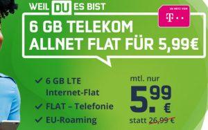 Telekom green LTE 6 GB (md) für 5,99 €