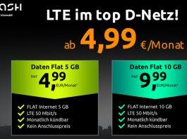 Dank crash Daten-Flat-Aktion gibt's 5 GB für 4,99 € und 10 GB für 9,99 € im Monat - ohne Laufzeit, ohne Anschlusspreis