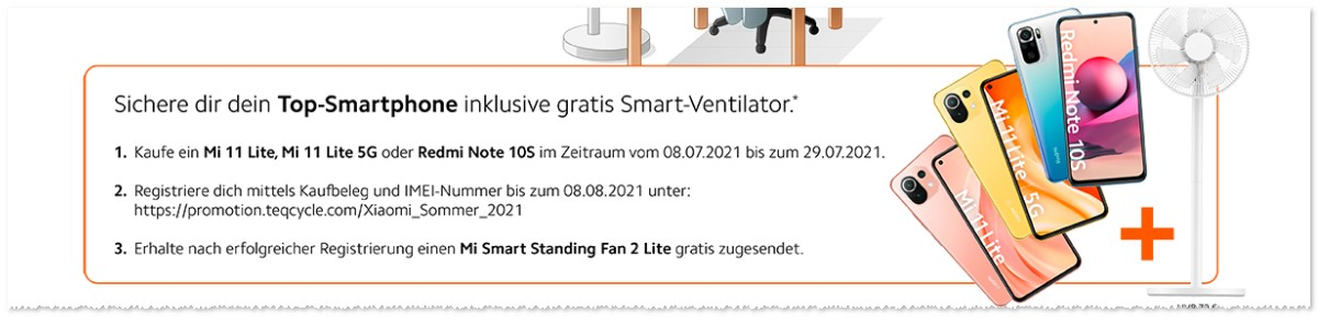 Xiaomi Sommer-Aktion mit Smart-Fan gratis