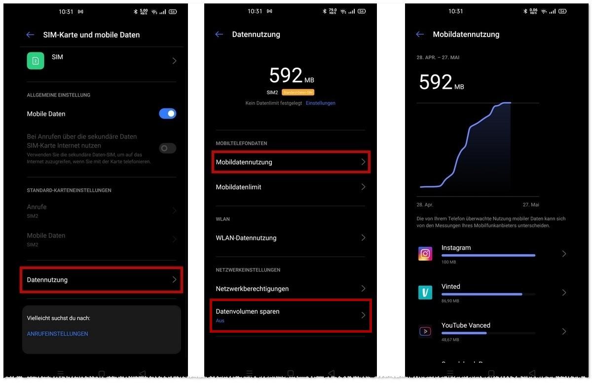 Datenvolumen sparen Android