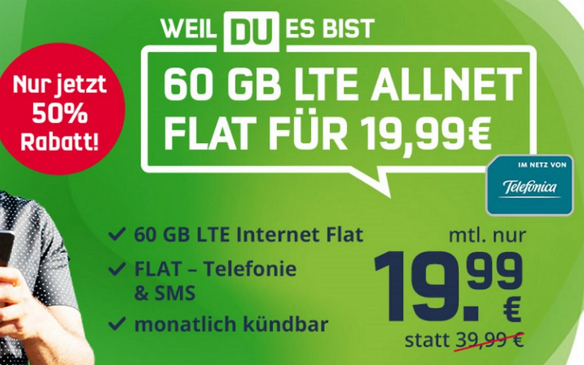 Telefonica green LTE 60 GB (md) für 19,99 € im Monat - und monatlich kündbar!