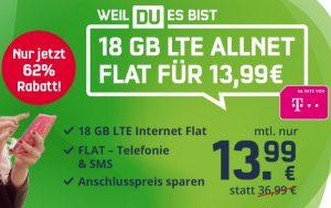 Telekom green LTE 18 GB (md) für 13,99 €