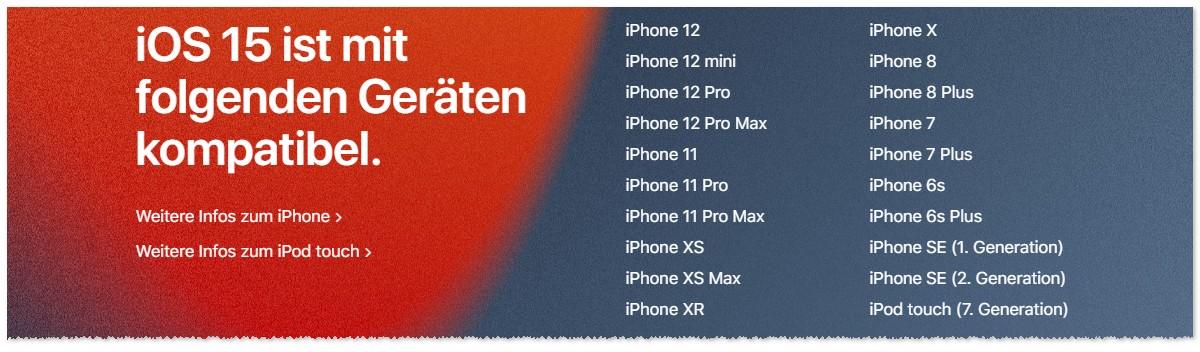 iPhone Vorgänger mit iOS 15 Update