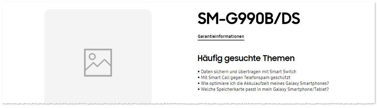 Samsung Support-Seite fürs S20 FE