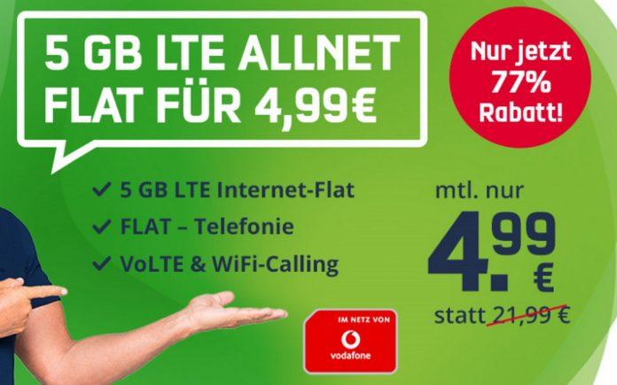 Der Vodafone green LTE 5 GB (md) ist für 4,99 € im Monat zu haben